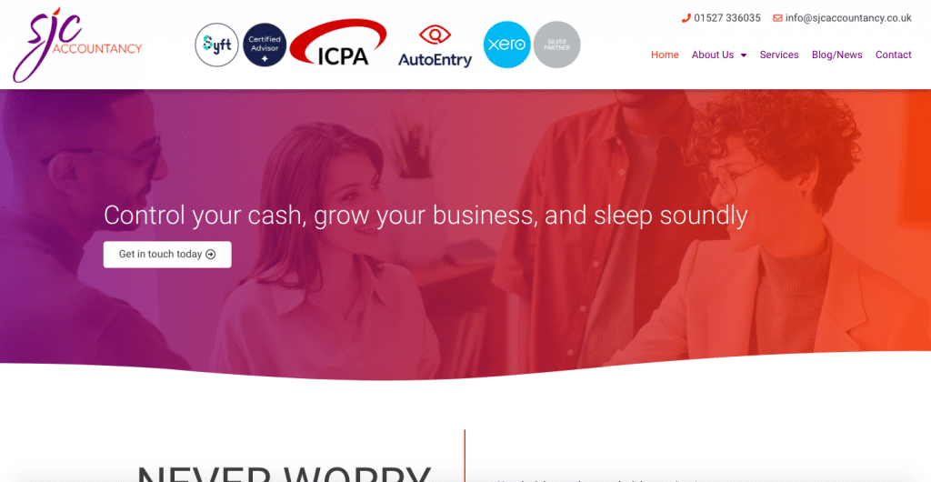 SJC ACcountancy Services Website Home Page